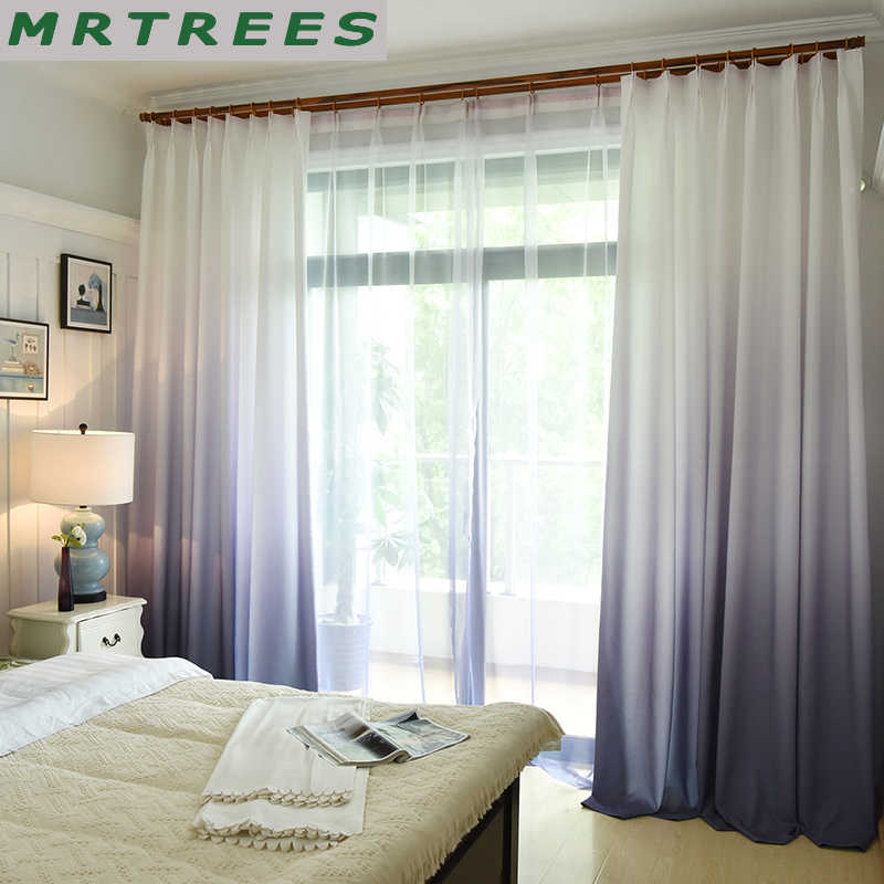 MRTREES 3d Printed Blackout Curtains Gradient Color Window Curtains Treatment for Living room kitchen Bedroom Curtains Drapes