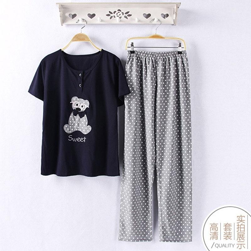 Cute Pajama Sets Women O Neck 2 Pieces Set Cotton Bear Print T Shirt Top + Long Pants Navy Blue Casual Pijama Plus Size