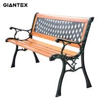 GIANTEX Terrasse Park Gartenbank Gartenstuhl Veranda Pfad Stuhl Außenterrasse Gusseisen Hartholz OP2783