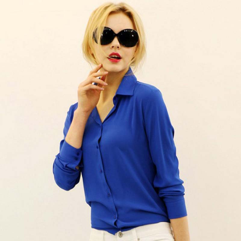 1PC Women's Shirt Solid Color Long Sleeve Large Size Chiffon Shirt Comfortable Slim Office Top 5 Colors