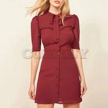 Cuerly 2019 summer ruffle dress bodycon button bow mini elegant female vestidos L5