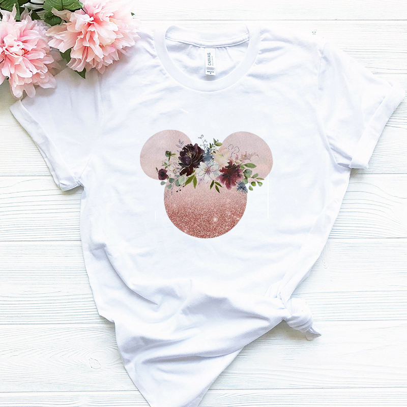 Showtly Clothes 2019 Tee Shirt Femme Harajuku T Shirt Flowers Mickey Graphic Tees Streetwear Tops Korean Kawaii Camiseta Mujer