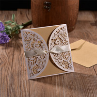 20pcs Lot NEW Hollow Laser Cut 4 In 1 Wedding Invitations Engagement Wedding Invitation Card With