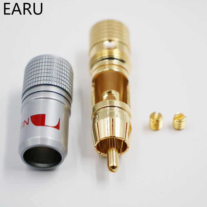4 stks NAKAMICHI 10mm Vergulde RCA Plug Locking Non Soldeer RCA Coaxiale Connector Socket Adapter fabriek Hoge kwaliteit