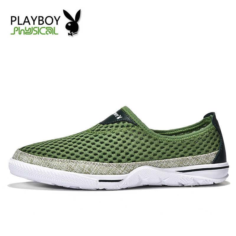 PLAYBOY 2016 Nieuwe Zomer Mannen Schoenen Ademend Mannelijke Casual Schoenen Mode Chaussure Homme Mesh Zapatos Hombre Outdoor Mannen Schoenen