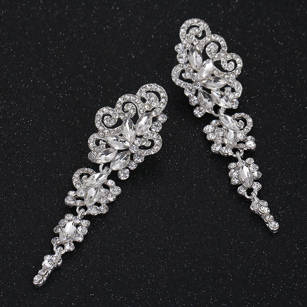 New Crystal Wedding Drop Earrings for Bridesmaid Silver Color Floral Long Pendantes Earrings For Women Girl Gift Party Jewelly