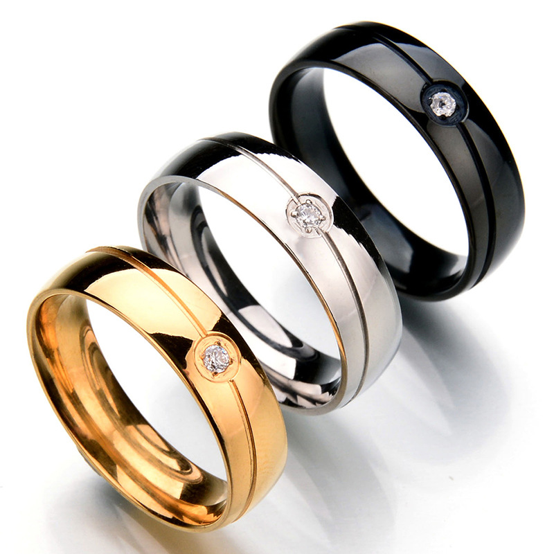 High Quality 6MM 316 Titanium Steel Ring Gyspy Setting Zircon Men Women Wedding Engagement Ring Stainless Steel WTR32