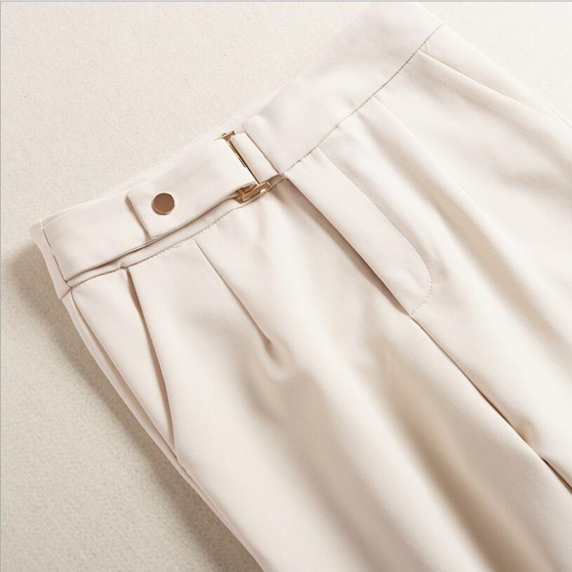 Dark Cheville longueur Blue Set Dames Pantalons Avec De Bureau Haute Col Taille 2 Pantalon Costume Chemises Pièces Vêtements À Travail Femmes Formelle Stand FAHWqnU1