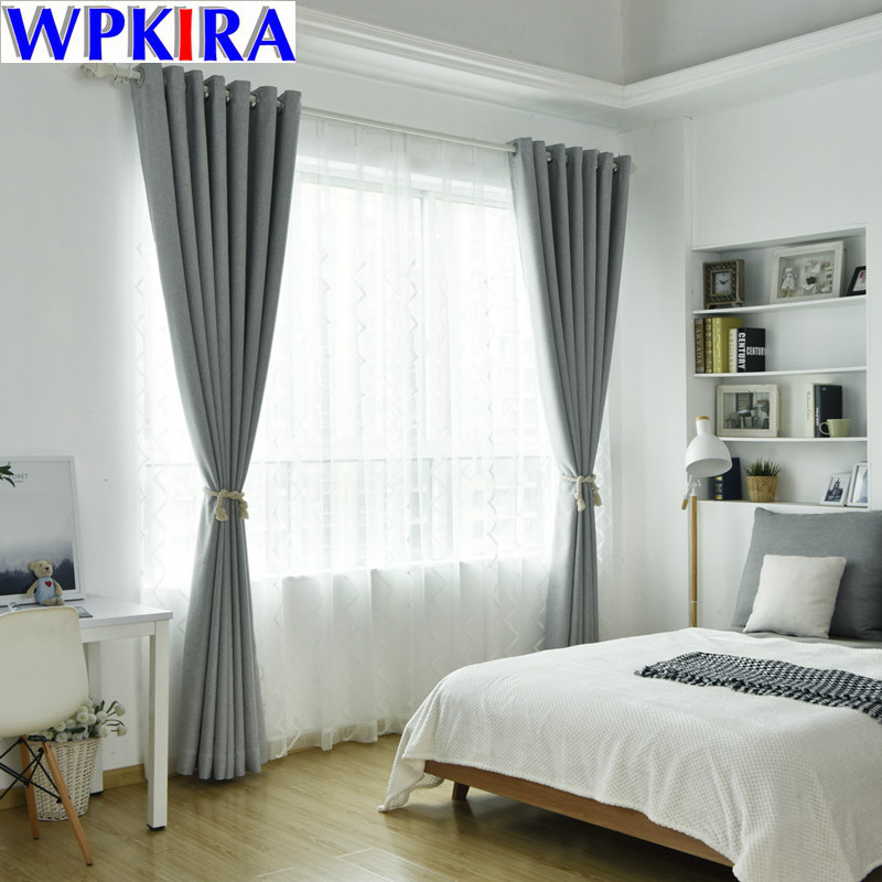 Modern Solid Thick Curtain Light Grey Cloth for Living ...