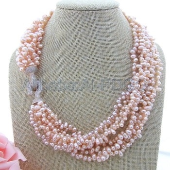 20'' 8 Strands Pink Top-Drilled Potato Pearl Necklace