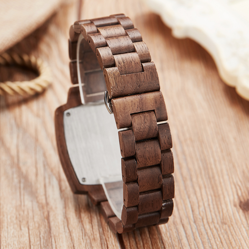 Image 5 - Wooden Couple Watch Men Women Lover Gift Wrist Watches Male Female Brown Walnut Wood Square Dial Quartz Wristwatch Reloj Clock-in Lover's Watches from Watches