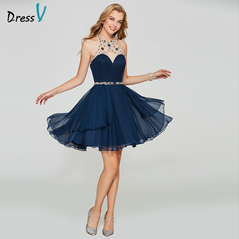 Dressv dark navy blue homecoming dress scoop neck a line