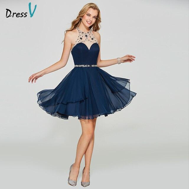 d043d3cbb0c Dressv dark navy blue homecoming dress scoop neck a line cheap zipper up  sleeveless beading homecoming graduation dresses