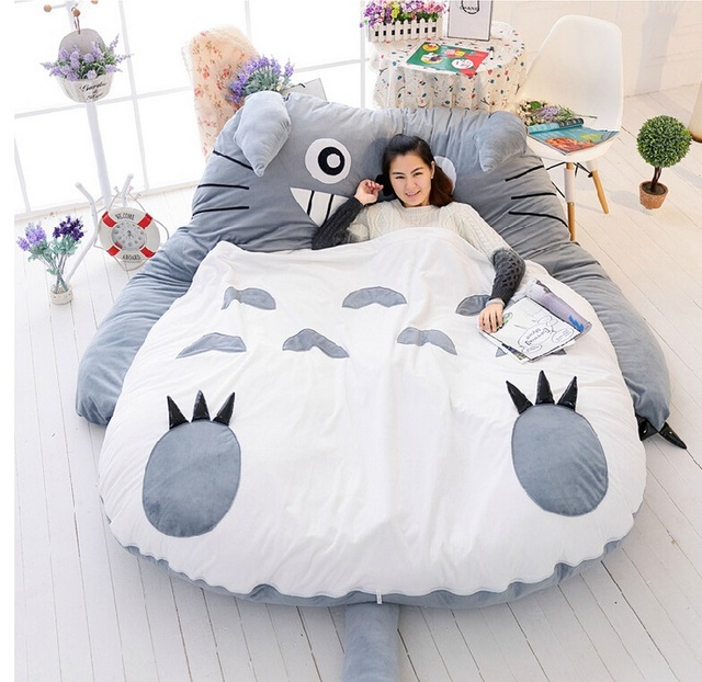 Japanese Anime Gray My Neighbor Totoro Plush Bed 210cm X 170cm Stuffed Sleeping Bag Cute
