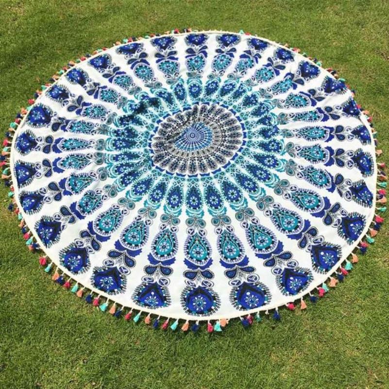 VOT7 vestitiy 150cm/59.0 Round Beach Pool Home Shower Towel Blanket Table Polyester Cloth ,Aug 11