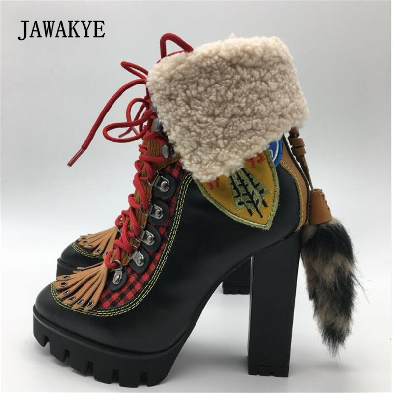 2017 Winter Wool Snow Boots Woman Round Toe Bandage Platform High Heel Short Boots Women Fashion Ankle Boots JAWAKYE