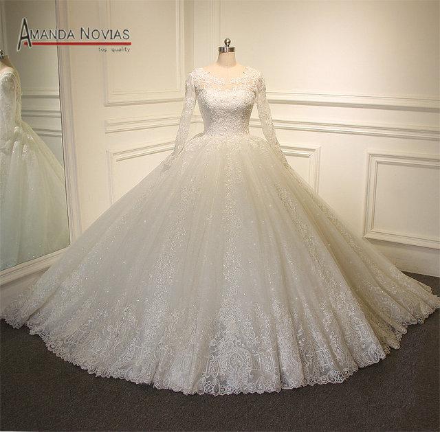 גדול כדור שמלה נפוח שמלת כלה שמלת כלה עם רכבת ארוכה חתונה אגלי Shinny
