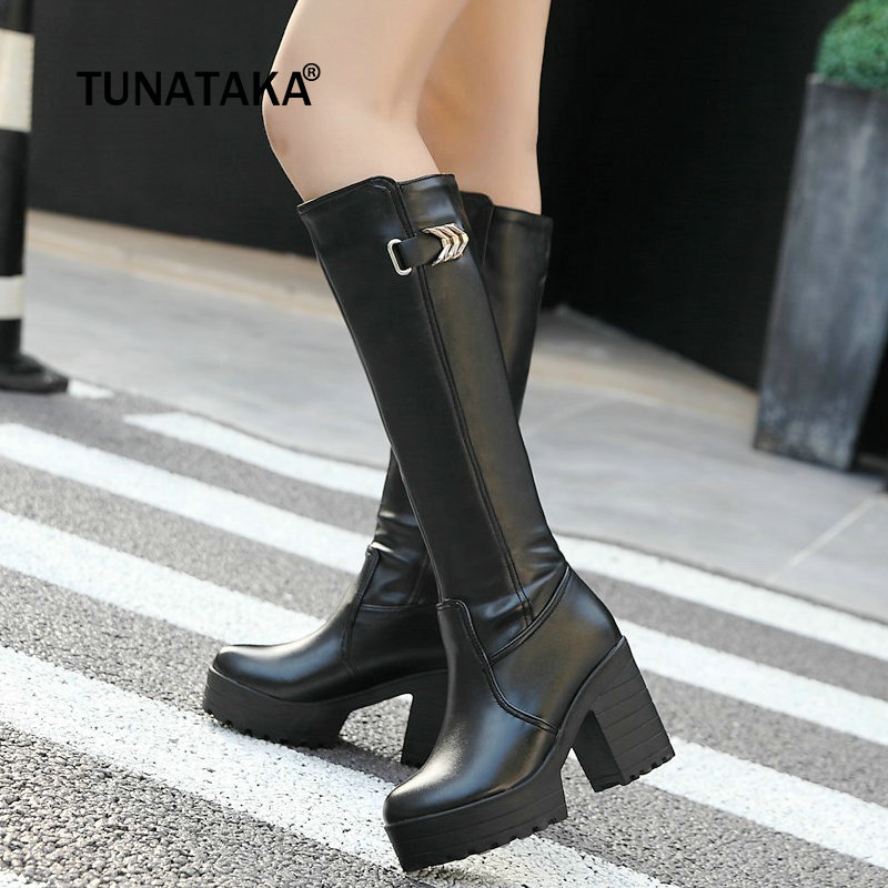 Black White Winter Knee High Boots Women Thick High Heels Fashion Platform Boots Slip On Pu Leather Woman Shoes Plus Size 2018 цена