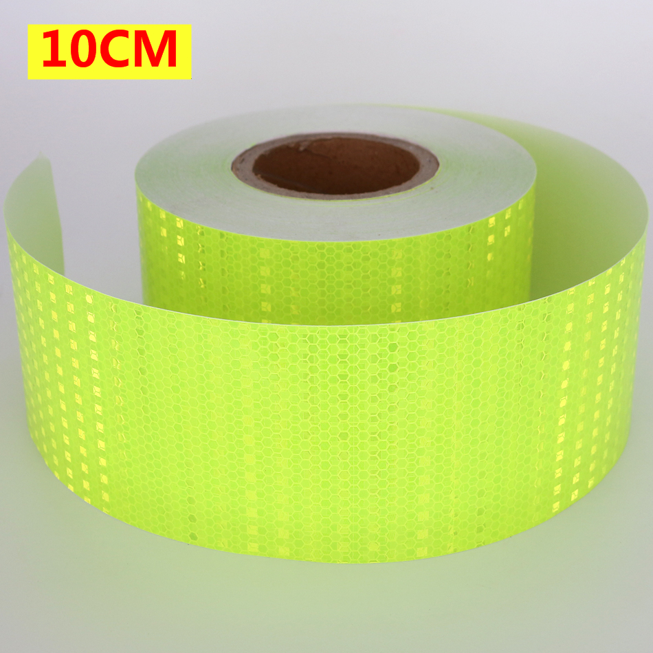 10CM*3M 50M High Visibility Reflective Sheeting Car stickers Truck Safety Warning strips Conspicuity Tape Fluorescent Green