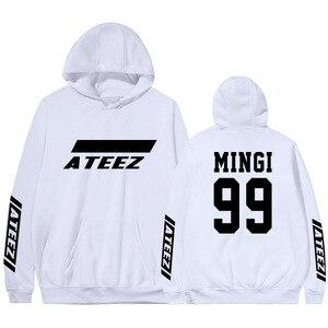 Image 5 - Kpop Ateez sweat shirt, faux deux pièces à capuche, pull imprimé à la mode