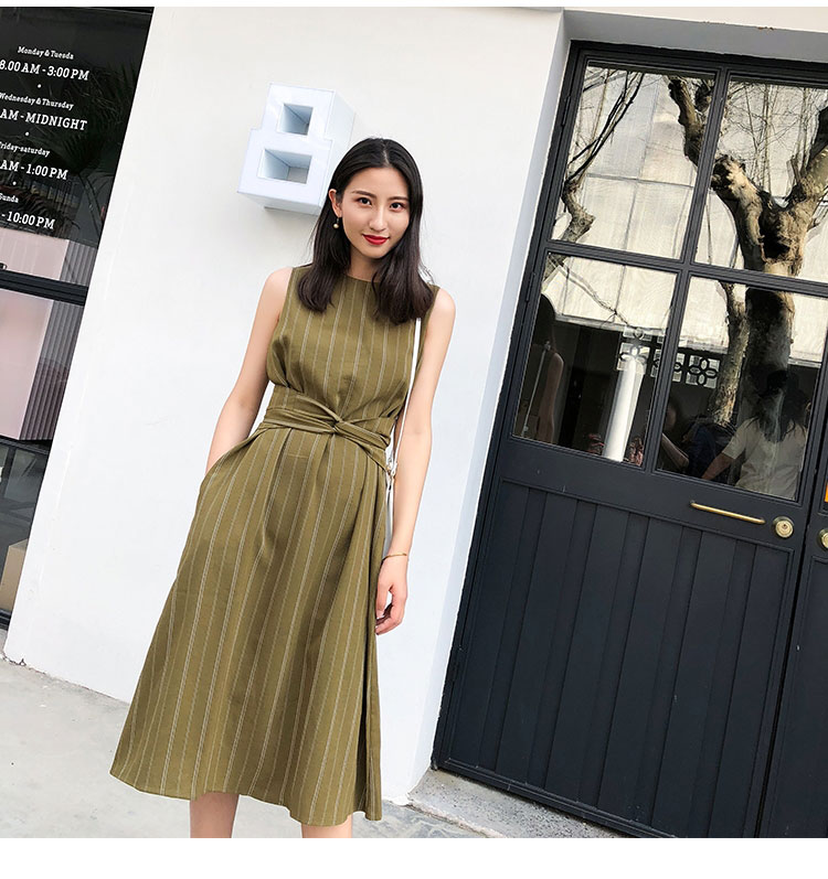 Women Elegant korean office lady dresses Sleeveless with belt Fashion Stripe Vestido Casual Slim Basic Work