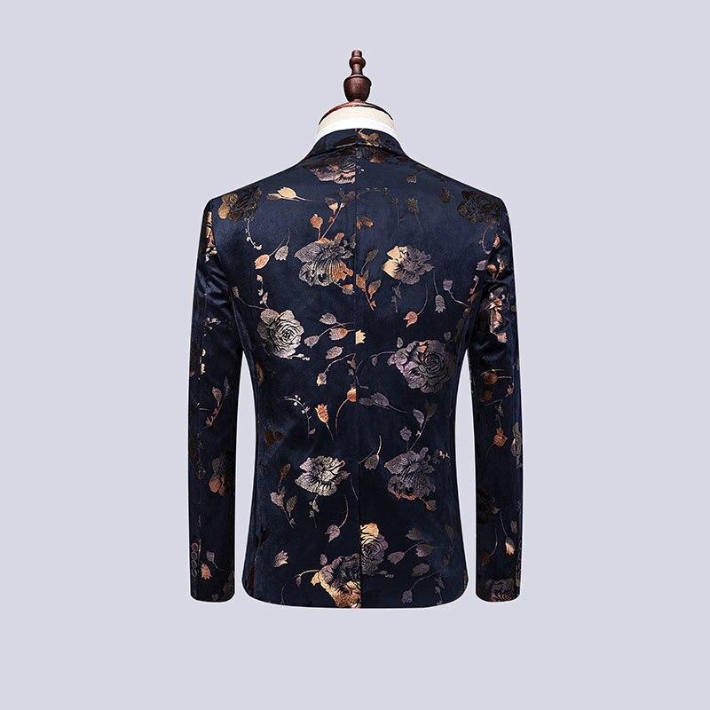 Tela de alta calidad con estampado dorado vestido ajustado para Hombre Trajes para boda traje de 3 piezas para hombre cantante de Club nocturno traje Homme - 3