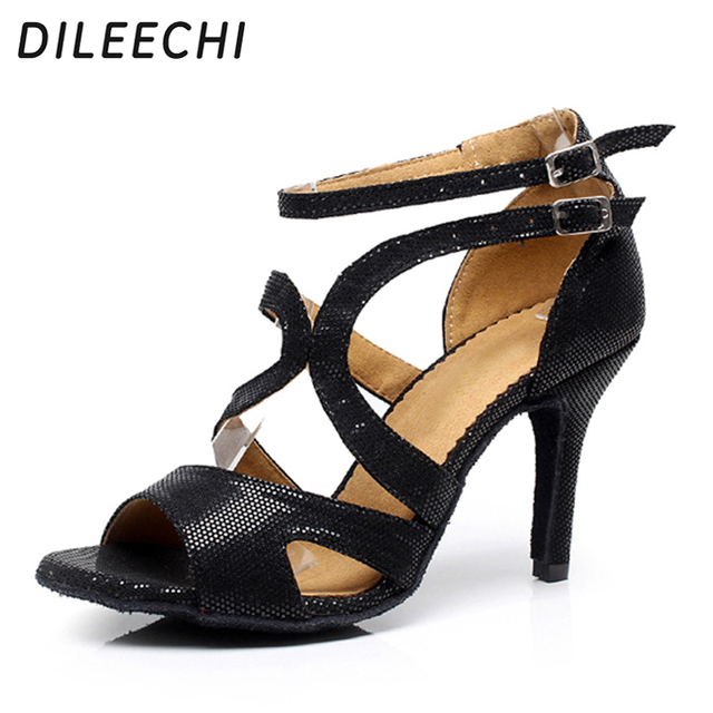 4ec424ae8 DILEECHI Brand Black Women's Latin dance shoes Ballroom dancing shoes Salsa  Party Square dance shoes soft outsole