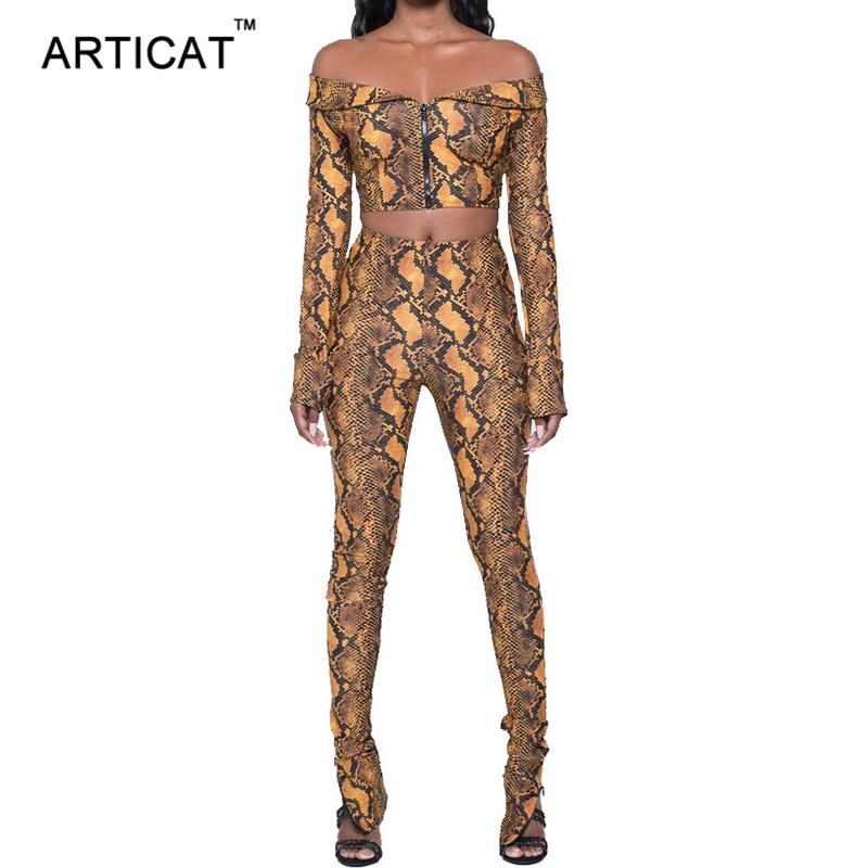 Articat Snake Skin Grain Print Two Piece Jumpsuit Women Off Shoulder Strapless Skinny Ro ...