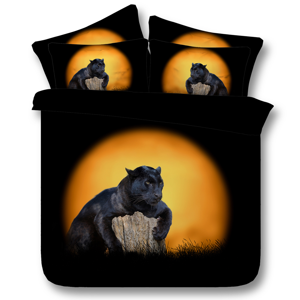 3d Animal Black Panthers Set Biancheria Da Letto Super King Size Queen Trapunta Lenzuola Copripiumino Biancheria Da Letto Foglio Copriletto Luna Panther 4 Pz