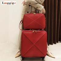 Women Vintage High grade PU Leather Rolling Luggage Set Spinner Trolley High capacity Retro Suitcase Wheels