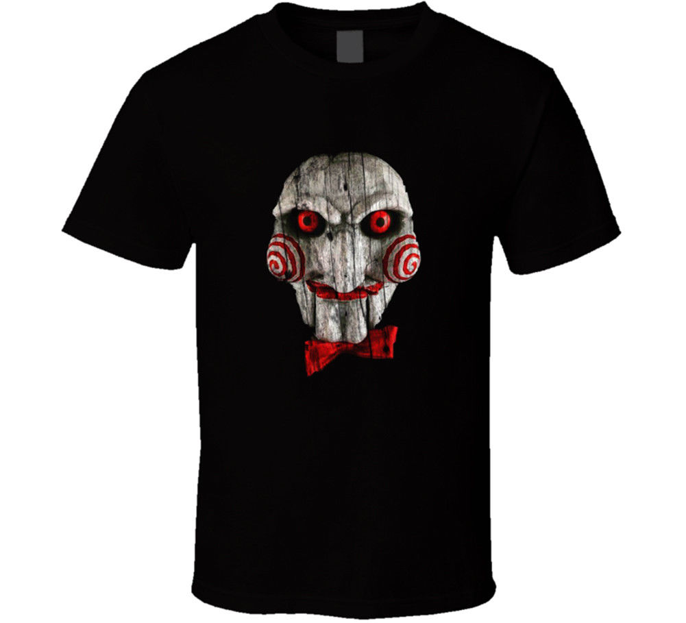 Jigsaw Saw Horror Thriller Movie Retro T Shirt Mens Tee Fan Gift New From US Fashion Style Men Tee,100% Cotton Classic tee image