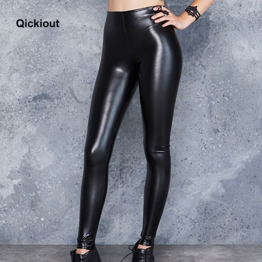 Qickitout Fashion Sexy Women Leggings Leather Pants Soild Black Hot Pants Sexy Costumes For Hot Club Wearing Stranger Things