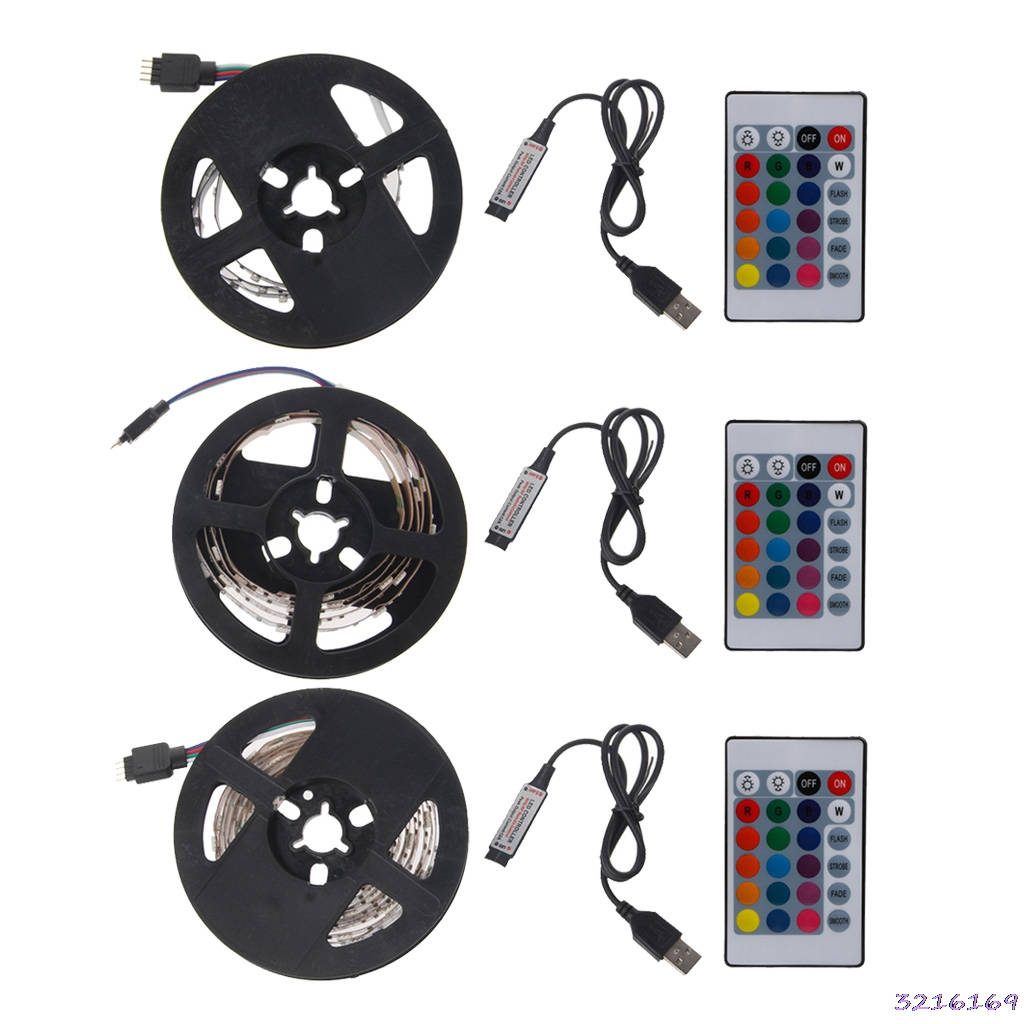 DC 5V USB 30 LED/m 5050 RGB Non Waterproof Flexible LED Strip Light TV Back Lighting+24 Key Remote -43#