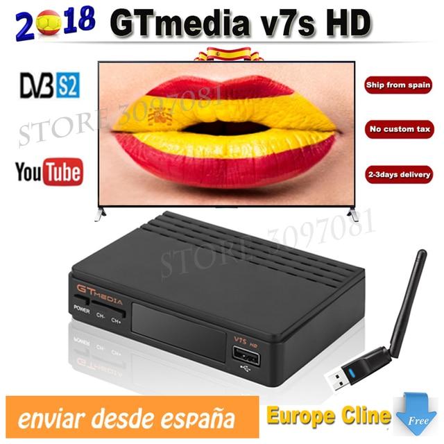 Decodificador Satellite TV Receiver Freesat v7s upgrade to gtmedia v7s hd with USB Wifi 1 year Europe CCcam Cline Spain v8 nova