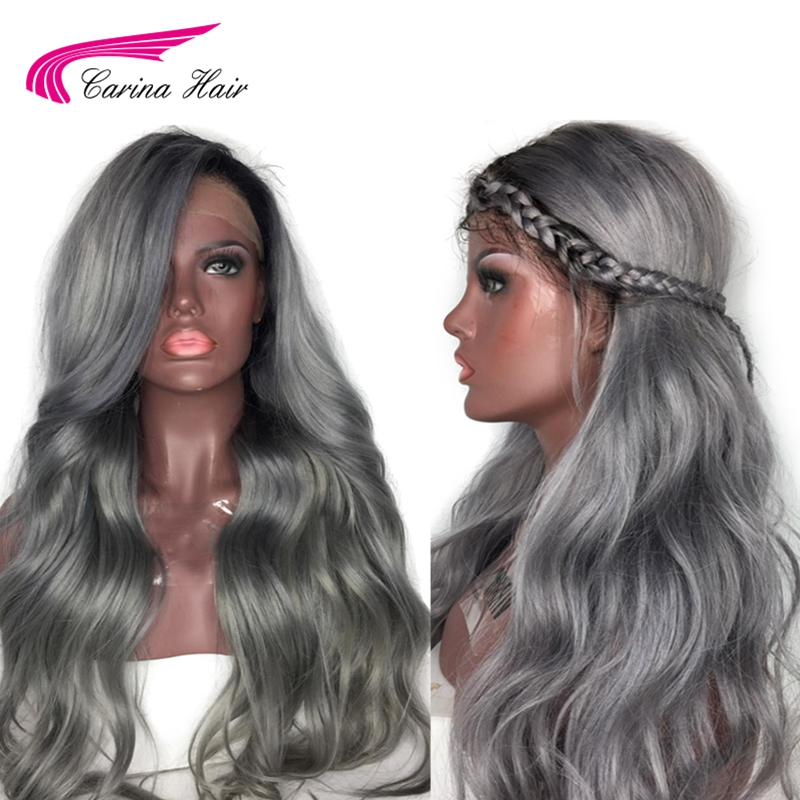 Carina Ombre Grey Color Lace Front Human Hair Wigs with Baby Hair PrePlucked Hairline Remy Hair