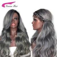 Карина Ombre серый цвет синтетические волосы на кружеве натуральные волосы парик с ребенком волос предварительно сорвал волосяная линия воло
