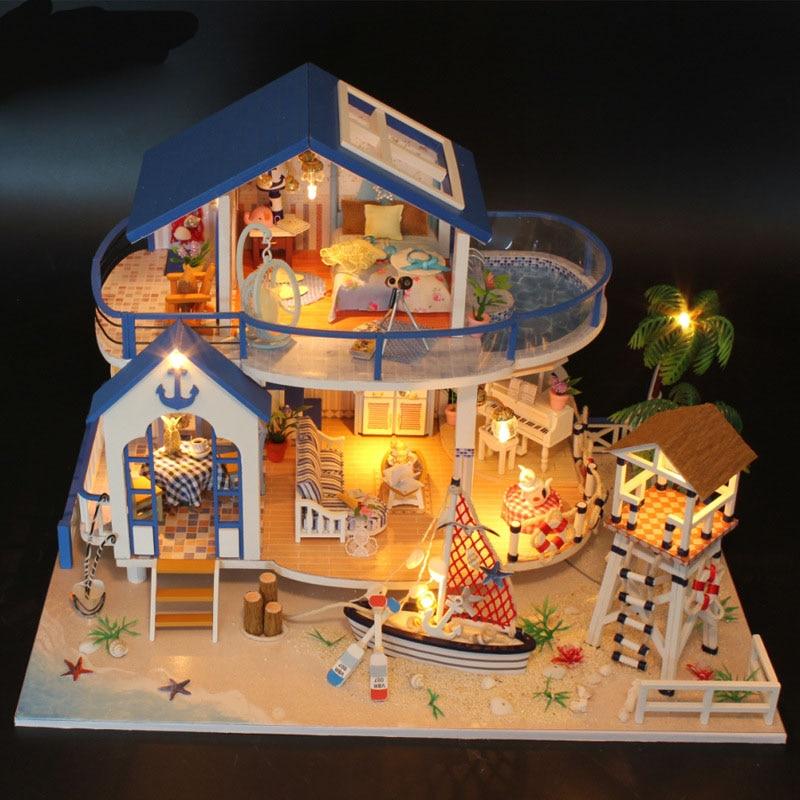 DIY Luxury Seaside Villa Furniture New Wooden Puzzle Dollhouse Toys With LED Light Romantic Handmade Xmas Gift Doll House Kits