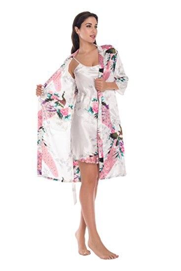 2 Stück Set Frauen Seide Pfau Kimono Roben Sexy Dessous Frauen Hochzeit Brautjungfer Robe Satin Nachthemd Bademantel Pijam