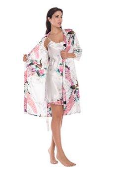 2 sztuka zestaw kobiety jedwabiu paw szlafrok kimono Sexy bielizna kobiety wesele druhna szata satynowa koszula nocna szlafrok Pijam tanie i dobre opinie WOMEN Robe ustawia Kostek NoEnName_Null Poliester Krótki Wiosna 6666 Zwierząt