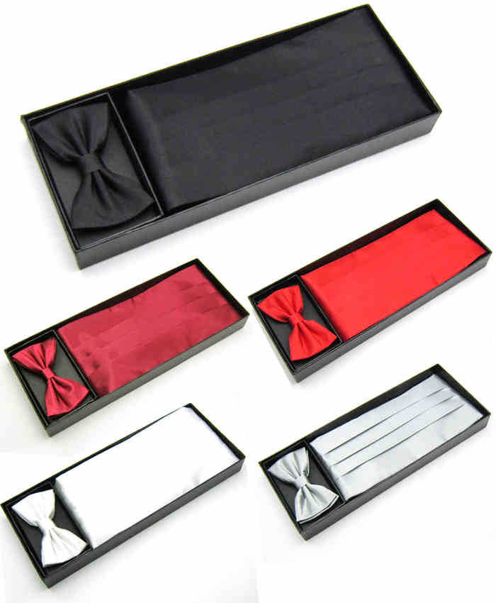 Mens Wedding Tuxedo Bow tie Set Cummerbund Hanky Pocket Towel Black Red White Silver Solid Bowtie Cravat