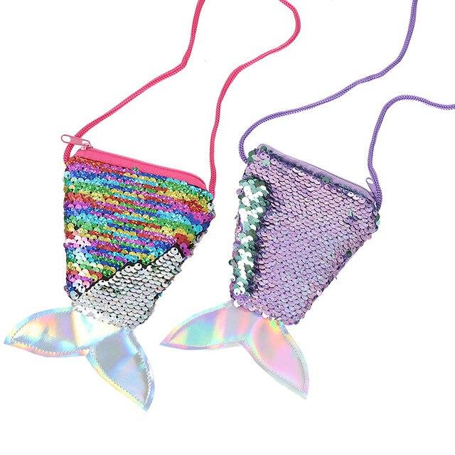 David-accessoires queue de poisson à paillettes réversible | Sacs à main, pièces de monnaie, portefeuille porte-cartes, bricolage, sac à main pour cadeaux, 1Yc5091