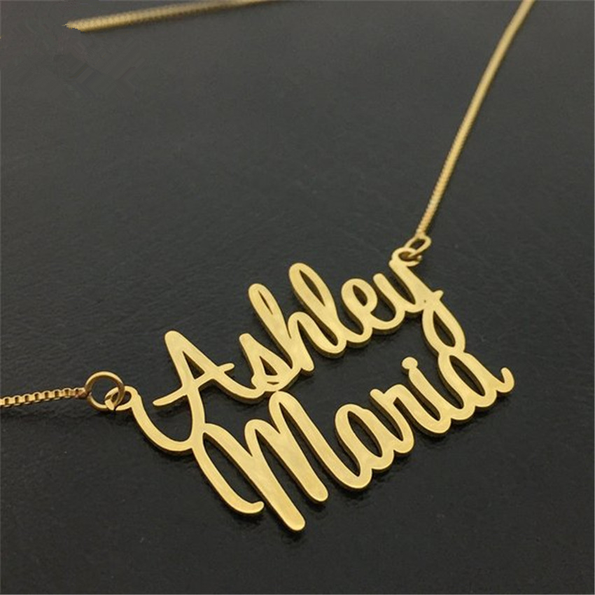 Gold Double Name Necklace with Box Chain Custom 2 Nameplate Pendent BFF Personalized Necklaces Christmas Gift Women Jewelry