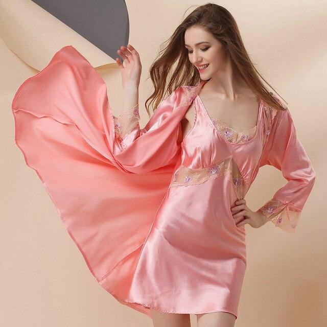 fda1326075 50% Mulberry Silk Pajama Sets Robe+Nightgown 2pcs Bathrobe Lace Nightgown  Set Pajama Home