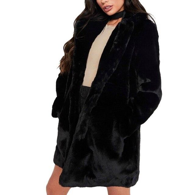 OEAK 2018 Women Faux Fur Long Coat Winter Warm Fluffy Cardigan Jacket Female Casual Soft Plush Teddy Coat Plus Size Pink Outwear 3