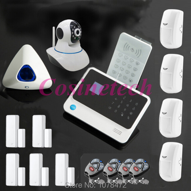 WIFI GSM Home ALARM SYSTEM with App,Motion detector,RFID keypad,two-way door contact+wireless strobe siren security alarm system fuers wifi gsm sms home alarm system security alarm new wireless pet friendly pir motion detector waterproof strobe siren