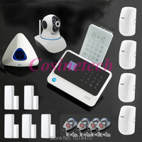 WIFI GSM Home ALARM SYSTEM with App,Motion detector,RFID keypad,two way door contact+wireless strobe siren security alarm system
