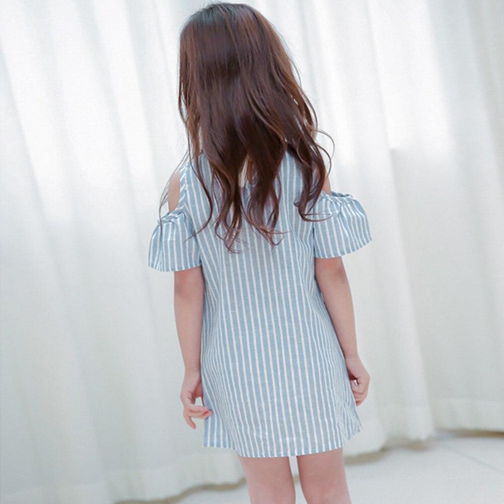 HTB1SdRCXSSD3KVjSZFKq6z10VXas Summer Girls Tassel Flying Sleeve Dresses Stripe Cute Kids Party for girls Princess Dress Tops Clothes