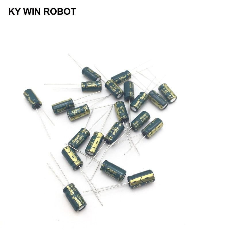 20pcs/lot 220UF 25V 220mf 105C 6X12mm Aluminum Electrolytic Capacitor 25V220UF Radial Lead 50pcs
