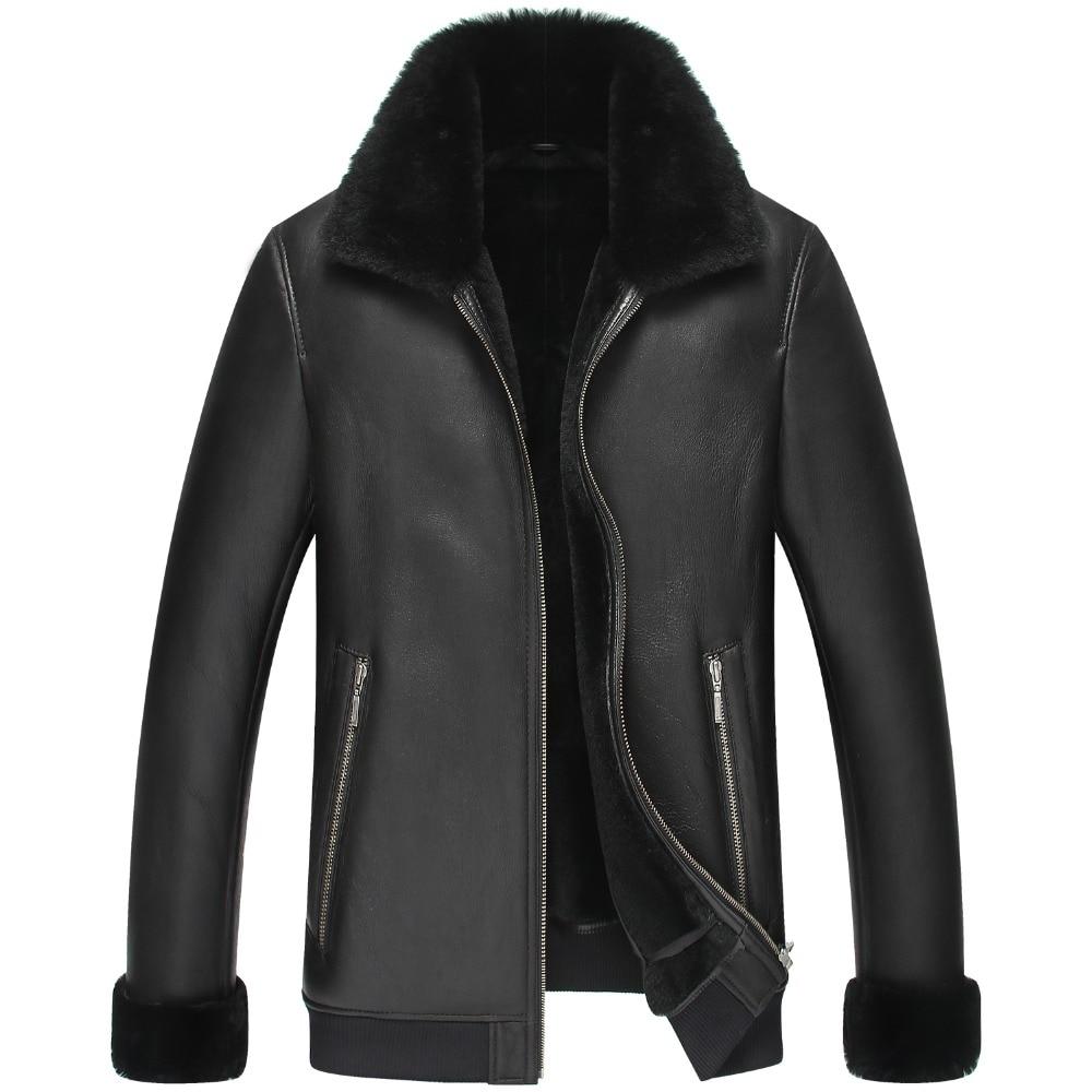Natural fur coats male winter jacket fur thick winter coat sheep shorn wool coat hot free shipping