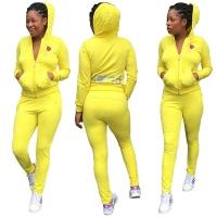 Letter Heart Print Yellow Tracksuit For Women Hoody Top And Pants Suit Casual Zipper Cardigan 2016